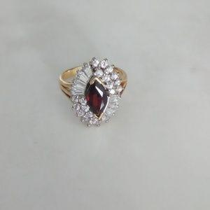 Garnet Cubic Z Birth Stone Ring